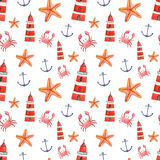 Watercolor hand drawn sea nautical seamless pattern. Watercolor hand drawn isolated seamless pattern with crab, anchor, sea star and lighthouse. Colorful hand Stock Photography
