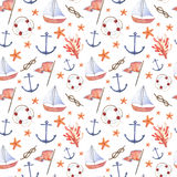 Watercolor hand drawn sea nautical seamless pattern. Watercolor hand drawn isolated on white seamless pattern with anchor, knot, sail, life-buoy and sea star Royalty Free Stock Photos