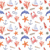 Watercolor hand drawn sea nautical seamless pattern. Watercolor hand drawn isolated on white seamless pattern with crab, anchor, dolphin, swimming goggles, sea Stock Photo