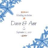 Watercolor hand drawn sea nautical wedding invitation card Royalty Free Stock Images