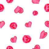 Watercolor hand drawn seamless pattern. Background with pink hearts and circles Stock Photos