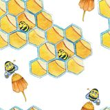 Watercolor hand drawn seamless pattern with bee and honeycombs royalty free illustration