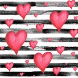 Hearts striped seamless pattern. Watercolor hand drawn seamless pattern with black stripes and red volume hearts. Watercolor white and black background Stock Image