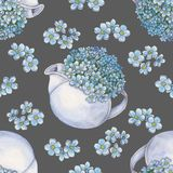 Watercolor seamless pattern with bouquet of forget-me-nots in teapot royalty free illustration