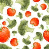 Watercolor hand drawn seamless pattern with broccoli and tomatoes. Vector eco food pattern Royalty Free Stock Image