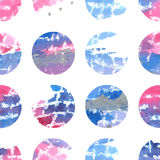 Watercolor hand drawn seamless pattern with circles. In pink, blue and silver colors on white background. Picture for a modern interior royalty free illustration