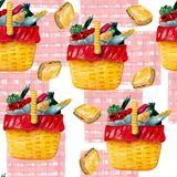 Watercolor hand drawn seamless pattern with different dishes and checkered plaid in a summer picnic on the white background. vector illustration