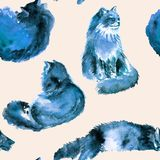 Watercolor hand drawn seamless pattern of fluffy blue cat in different poses: lazy, lying, dreaming, sleeping on a beige stock photo
