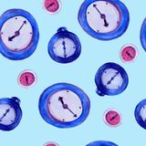 Watercolor hand drawn seamless pattern with illustration of alarm clock on the blue background. royalty free stock image