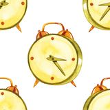 Watercolor hand drawn seamless pattern with illustration of alarm clock. Vintage fantasy clock abstract.  royalty free illustration