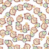 Watercolor hand drawn seamless pattern with illustration of brown timepiece. stock illustration