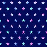 Watercolor seamless pattern with stars. Watercolor hand drawn seamless pattern of multicolor stars on blue background Royalty Free Stock Images