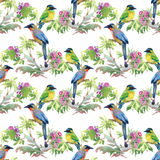 Watercolor hand drawn seamless pattern with tropical summer flowers and exotic birds Royalty Free Stock Photography