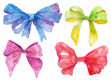 Watercolor hand-drawn set of bows Royalty Free Stock Images