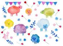 Watercolor hand drawn set of cartoon sheep with elements: flowers, stars, sheeps, leaf, small flags. stock illustration