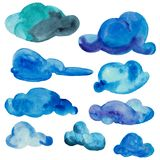 Watercolor set of different clouds isolated on white background. royalty free illustration