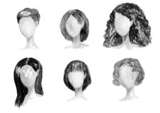 Watercolor hand drawn set with different types of female hairstyles for long,curly,chort hair. royalty free illustration
