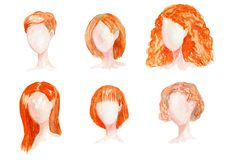 Watercolor hand drawn set with different types of female hairstyles for long,curly,chort hair. stock illustration