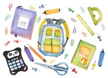 Watercolor hand drawn set of school items. Welcome back to school. Marker, pencil, notebook, briefcase, backpack, wallet vector illustration