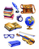 Watercolor hand drawn set of school items. Welcome back to school. stock illustration