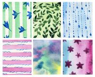 Watercolor hand drawn set with six different background. royalty free illustration