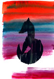 Watercolor hand drawn silhouette of a fox on multicoloured backg. Round vector illustration