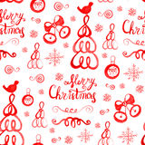Watercolor hand drawn sketch Christmas seamless pattern. Us for postcard, card, invitations and christmas decorations Stock Photos