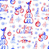 Watercolor hand drawn sketch Christmas seamless pattern. Us for postcard, card, invitations and christmas decorations Stock Images