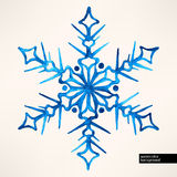 Watercolor hand-drawn snowflake Royalty Free Stock Image