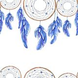 Watercolor hand drawn template of dreamcatcher and feathers royalty free illustration