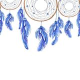 Watercolor hand drawn template of dreamcatcher and feathers vector illustration