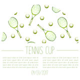 Watercolor hand drawn tennis cup announcement card Stock Photo