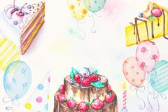 Watercolor cakes, candle, cap and balloons. Watercolor hand drawn three cakes with candle, cap and balloons. Birthday greeting card Royalty Free Stock Photo