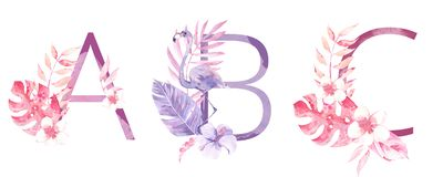 Watercolor Hand Drawn tropic letters monograms or logo. Uppercase A, B, C, with jungle herbal decorations. Palm and