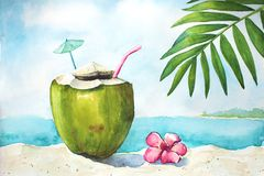 Watercolor tropical landscape with coconut Stock Photography