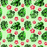 Watercolor hand-drawn tropical seamless pattern vector illustration