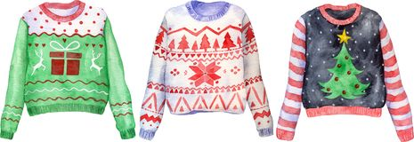 Free Watercolor Hand Drawn Ugly Christmas Sweaters On Isolated Background. Christmas Jumper Day Clothes. Stock Image - 161484061
