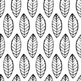 Watercolor hand drawn vector leaf seamless pattern. Abstract grunge black and white texture background. Nature organic line illus vector illustration