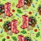 Watercolor hand drawn vegetable garden seamless pattern royalty free stock photos