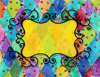 Watercolor hand drawn   vintage pattern with frame Stock Photography