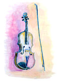Watercolor hand drawn violin and a bow Royalty Free Stock Photos