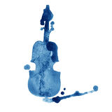 Watercolor hand drawn violin with splash on white background Royalty Free Stock Photo