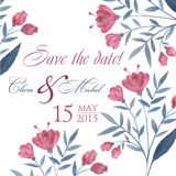 Watercolor hand drawn wedding invitation pastel Stock Image