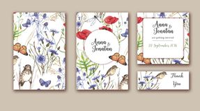 Watercolor hand drawn wedding invitations set with different wild meadow flowers on white background. Vibrant floral design for wedding invitation, save the Stock Images
