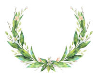 Watercolor hand drawn wreath fruit orange branch. Stock Images