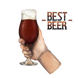 Watercolor hand with glass of beer Stock Photos