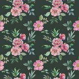 Seamless watercolor pattern of flowers and leaves. Flower arrangement for design. stock illustration