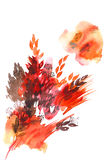 Watercolor hand painted abstract autumn leaves in red and orange Royalty Free Stock Images