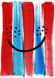 Watercolor hand painted abstract smile against the background of. Vertical blue and red strips. Picture for a modern interior vector illustration