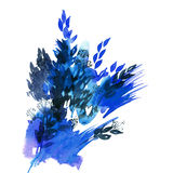 Watercolor hand painted abstract winter leaves in blue colors. Stock Photos
